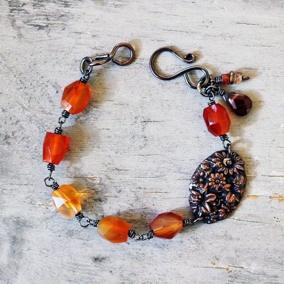 Carnelian and Copper Wire-wrapped Beaded Bracelet