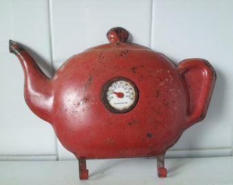 Vintage RED  Room Thermometer Teapot Shape with Hooks Metal