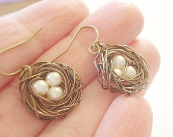 Bird Nest Earrings Brass Nest Earrings Pearl Earrings Bird Nest Earrings Wire Egg Nest Earrings Jewelry