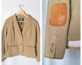 vintage canvas and leather elbow patch HACKING JACKET