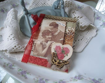 Handmade Anniversary Card - Vintage Couple Card - Old-fashioned Couple