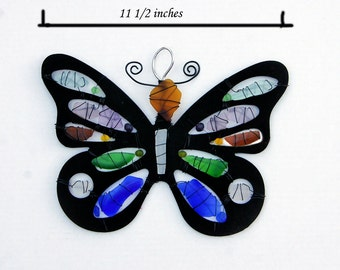Large Sea Glass Butterfly Suncatcher or Wall Hanging in Various Sea Glass Colors