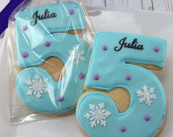 Frozen Birthday Cookies, Personalized, Number Cookies  - 18 Decorated Sugar Cookie Favors