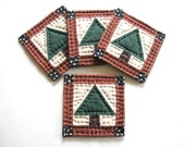 Tree Coasters, Housewarming Gift Hostess Gift Quilted Coasters Fabric Coasters Candle Mats Rustic Primitive Country Home Decor Christmas