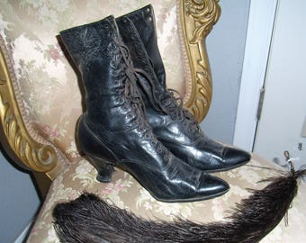Victorian Leather Lace-Up Boots