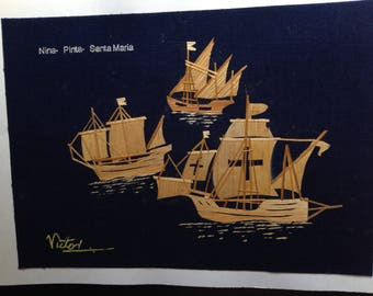 Columbus ships Nina, Pinta, Santa Maria. Marine art collectible, size 5 X 7 Handmade, signed art. Nautical collectible, no two art  alike