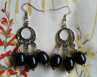 Bakelite Chandelier Earrings - Black 1