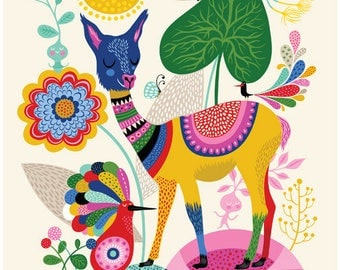 Llama Happiness... - limited edition giclee print of an original illustration (8 x 10 in)