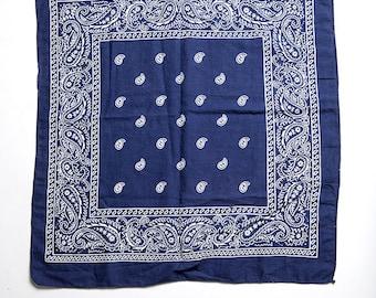 The Vintage Navy Indigo Blue Boho Cotton Bandana Hankerchief Scarf