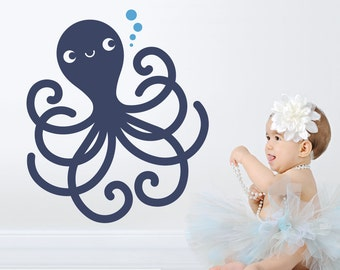 Happy Octopus Wall Decal Ocean Baby Nursery Cute Sea Life Underwater Theme Nautical Kids Room Decor Under the Sea Kawaii Wall Sticker