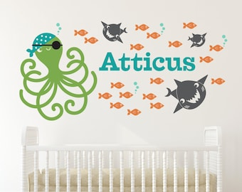 Pirate Octopus Name Wall Decal: Ocean Baby Underwater Nursery Under-the-Sea Kids Shark, Fish, Wall Sticker Sea Life Room Decor (Boy or Girl)