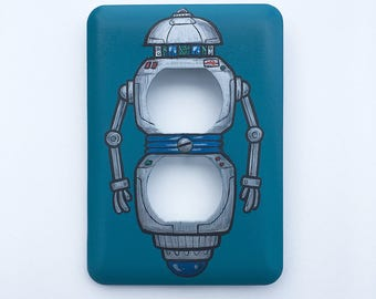 Hand Painted Robot Outlet Cover Plate - Signed & Numbered by Artist
