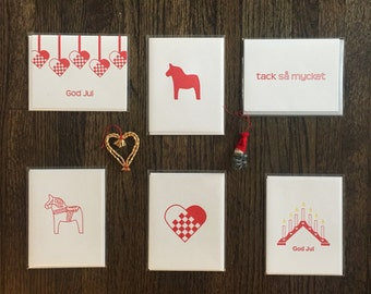 Letterpress Swedish Scandinavian Greeting cards