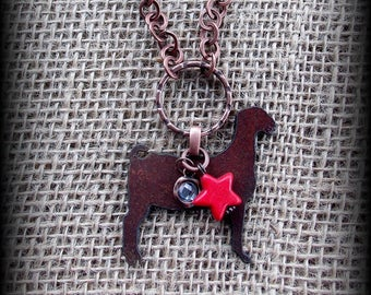 Rustic Metal  Boer Goat Pendant On Long Boho Style leather and Beads Necklace