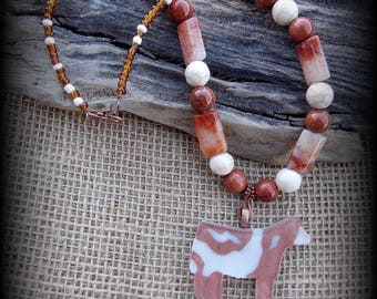 """Glass Shorthorn Show Steer Jewelry/Heifer/Cattle Pendant With Gemstone Beaded Necklace Approx 18"""""""