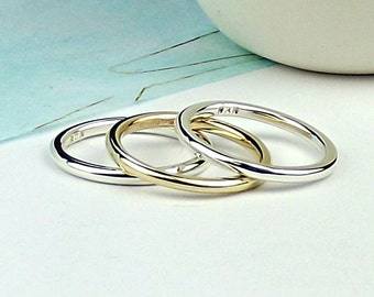 Skinny Simple Silver Stacking Rings - stack rings - stacker rings - silversynergy - uk - sterling silver rings - silver rings - synergy