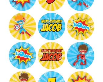 Superhero Boys Edible Images for Cookies and Cupcake Toppers, Cake Customizable Personalized