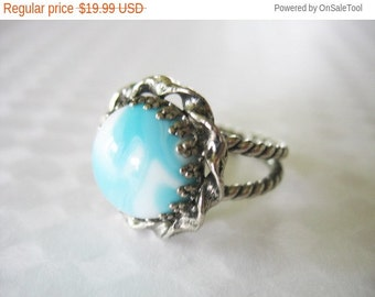 Holiday Sale Glass Statement Ring 1960 West Germany Marbled Blue White Silvertone Braided Base Adjustable