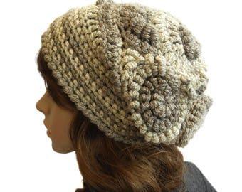 Crochet Beanie, Freeform Crochet Beanie Hat Beret OOAK Beige Mono Tones, OOAK Wearable Art