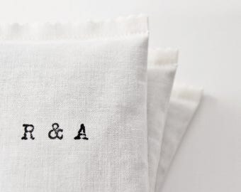 Cotton Anniversary Gift for Her - His Hers Monogram Initials Lavender Sachet, Scented Sachets for 2nd Year Anniversary