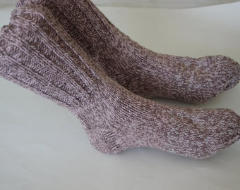 Light Rose Handmade Socks Knit from 100% Cotton Yarn, Hand knitted socks, 10 inches long, hand knit socks, knit cotton socks, Ready to ship
