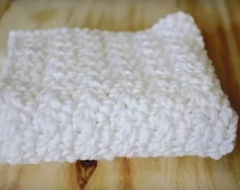Set of 3 Handmade Crochet Dishcloth Set Crisp White Cotton/ Crochet from 100% Cotton Yarn/ Cotton wash cloth/ Extra Large 9x9