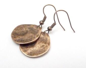 Round Metal Copper Earrings