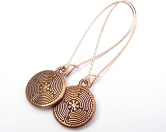 Round Copper Dangle Earrings
