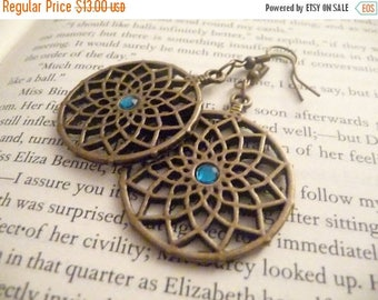 ON SALE Round Copper Earrings with Blue Rhinestone - The Kyara earrings
