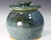 Sugar Bowl Honey Pot in two tone blue overlap  IN STOCK