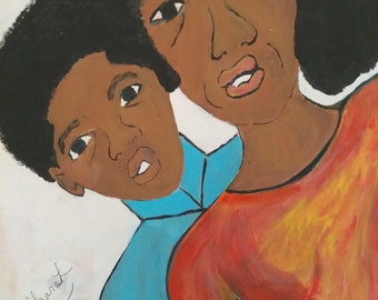 Mommy and me, black woman art,black woman,mother and son ,original painting, black art,orange , blue ,unisex paintings african american art