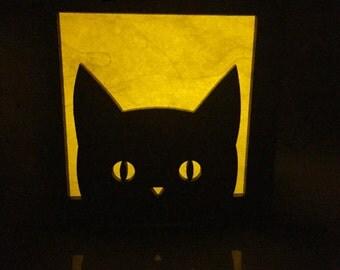 "Peekaboo kitty cat light box - 3"""