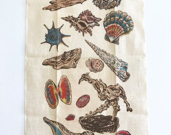 Linen Towel Vintage Shells Kay Dee NOS New Old Stock MWT Seashells