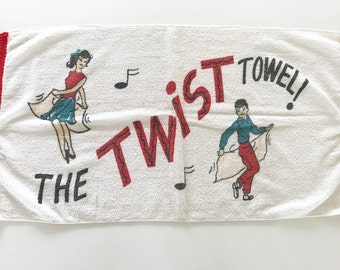Vintage Terrycloth Towel Twist Dance 1960s Retro Novelty Textile Wall Hanging