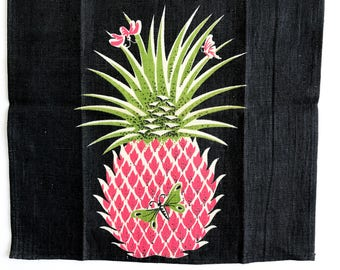 Linen Tea Towel Pineapple Fruit Butterflies Tammis Keefe Style Black Pink Green Hanging Textile