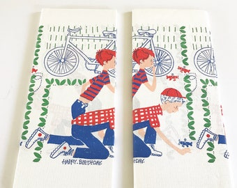 TWO Vintage Paper Tablecloths Birthday Party Little Boys Playing