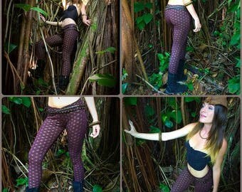 Flowe of Life Leggings - Burgundy and Gold