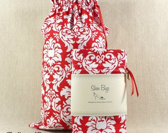 Damask, Shoe Bags, Red Damask, Lingerie, Travel, Limited Edition, Ready to Ship