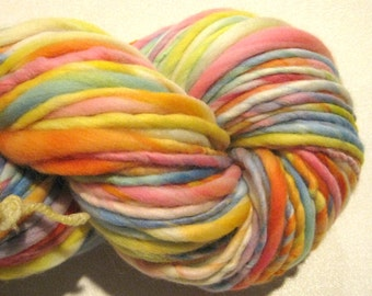 Super Bulky Handspun Yarn Candy Crush 108 yards hand dyed wool pastel rainbow yarn waldorf doll hair knitting supplies crochet supplies