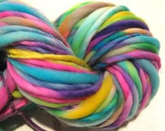 Super Bulky Handspun Yarn, Neon Rainbow 70 yards, hand dyed merino wool, rainbow yarn waldorf doll hair, knitting supplies, crochet supplies