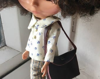 Lovely dark brown real leather bag/purse for Blythe doll