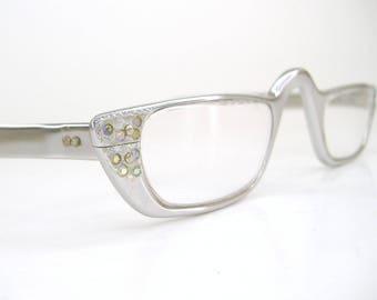 Vintage Aluminum Rhinestone Reading Glasses Frame Mid Century Retro