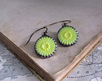 Yellow Glass Button Earrings  Stained Glass Soldered Jewelry