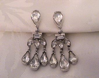 Vintage TRIFARI Philippe Rhinestone Silver Chandelier Earrings