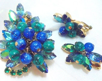 Juliana Brooch & Earrings, Blue, Green Rhinestone with Bobble beads