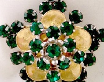Barclay Vintage Emerald Green Rhinestone Pin