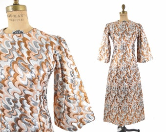 1960s metallic dress / silver and copper angel sleeve dress / 60s mod party dress