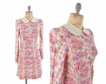 60s dolly dress / pink and purple floral mod mini dress  / 1960s babydoll dress .. xxs-xs