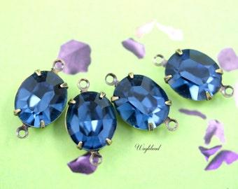 Preciosa Montana Sapphire Blue Glass Oval Stones 12x10mm Brass Prong Settings - 4