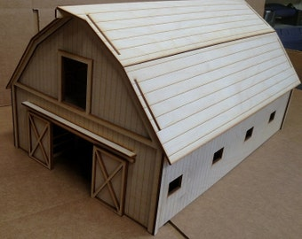 "Rustic Barn 1/2"" scale Baltic Birch Laser-cut wooden kit"